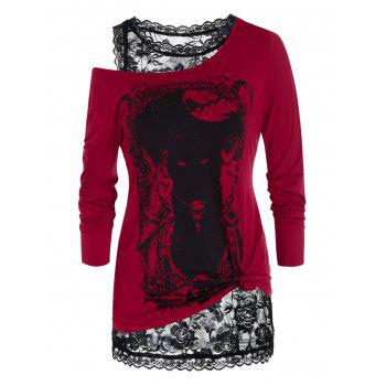 Plus Size Halloween Print Long Sleeve T-shirt and Lace Tank Top Set