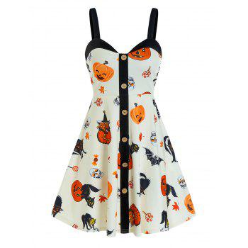 Halloween Pumpkin Print Button Cami A Line Dress