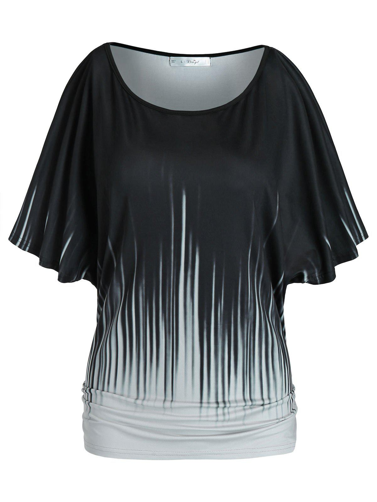 Plus Size Batwing Sleeve Ruched T Shirt - BLACK 5X