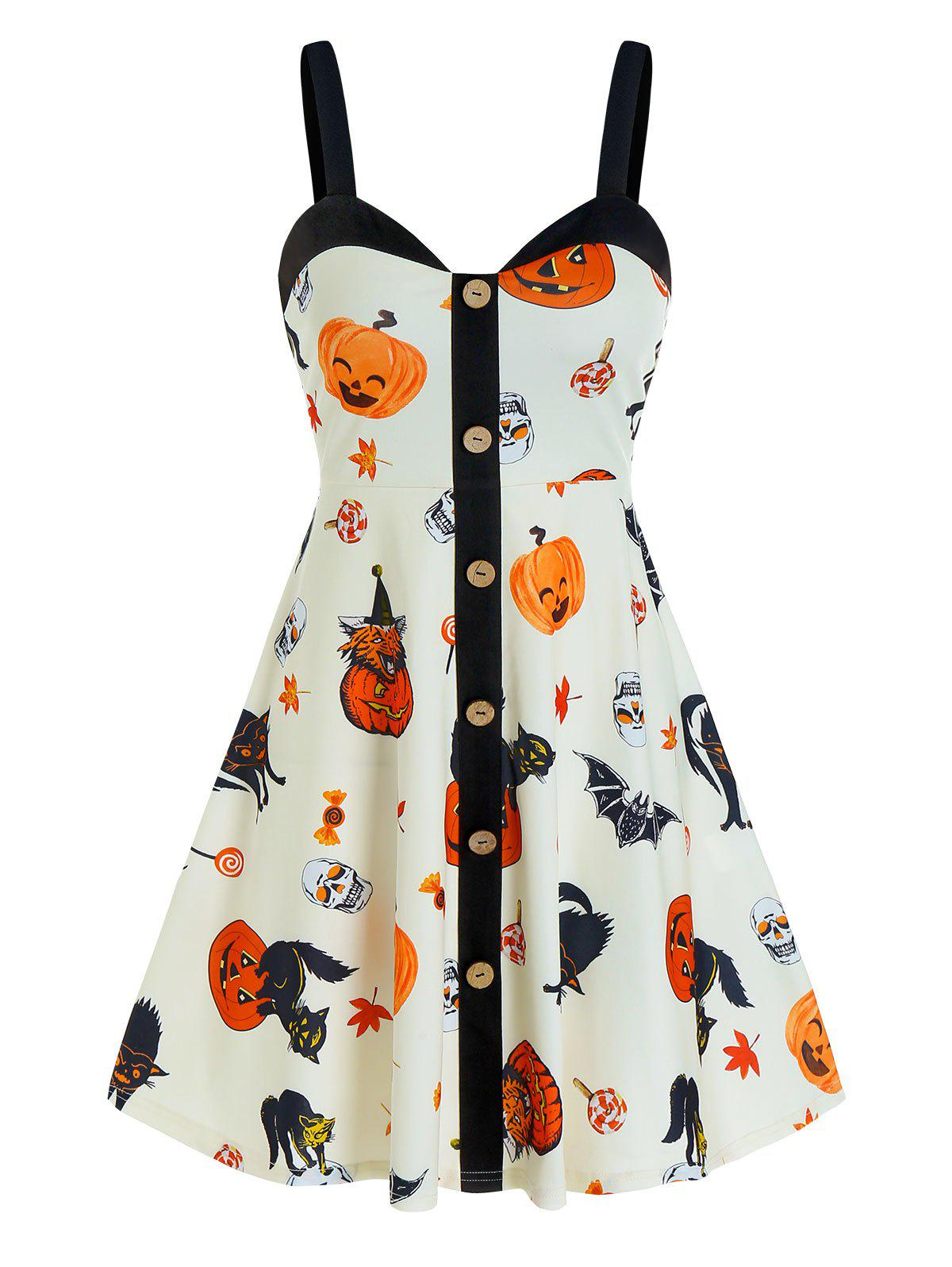 Halloween Pumpkin Print Button Cami A Line Dress - WARM WHITE L
