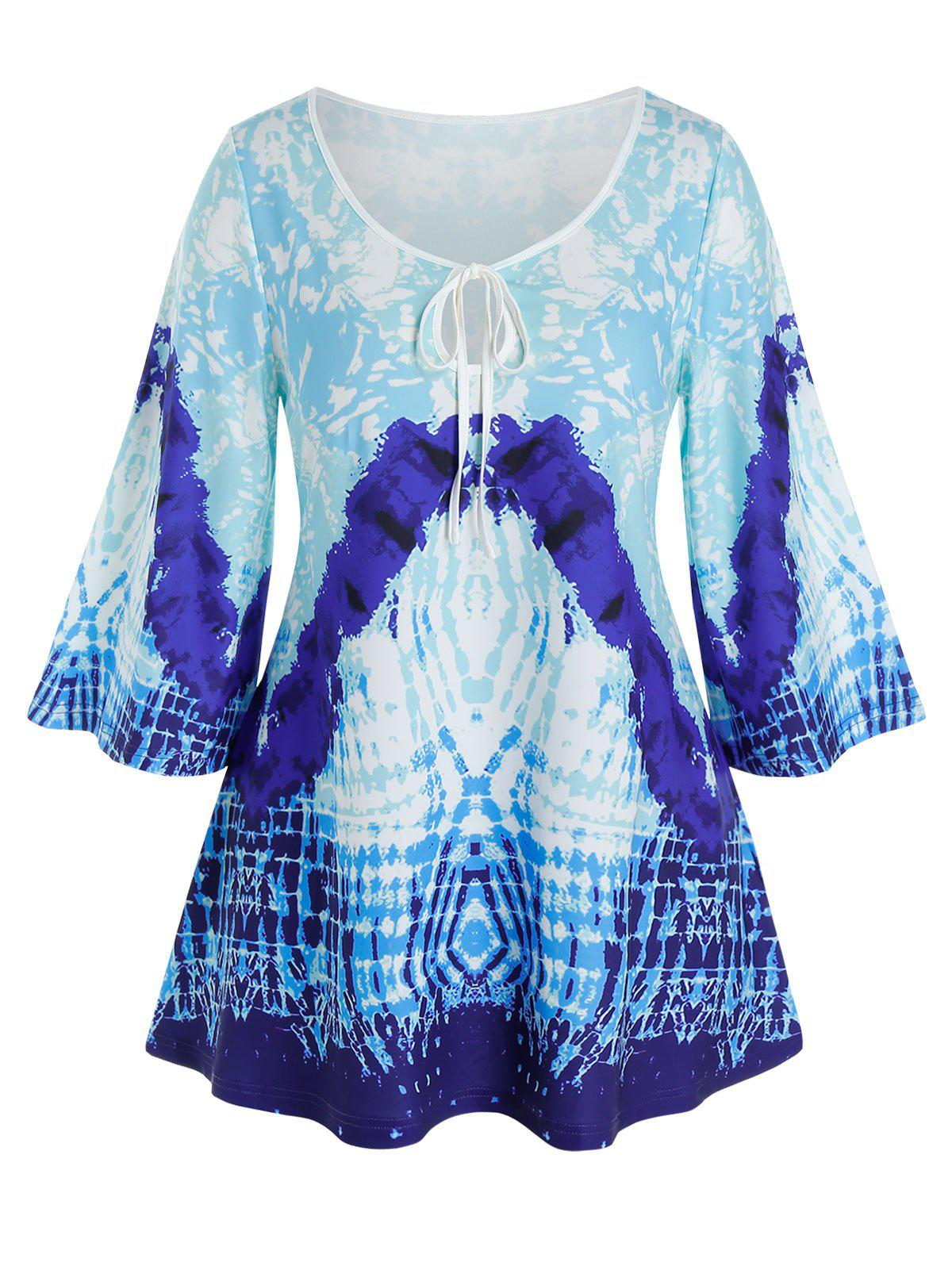 Plus Size Keyhole Tie Abstract Pattern Casual Tee - DODGER BLUE 1X