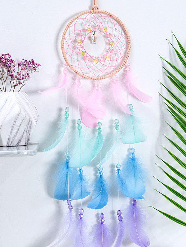 Feather Fringe Hanging Dream Catcher - multicolor A WITHOUT LIGHTS