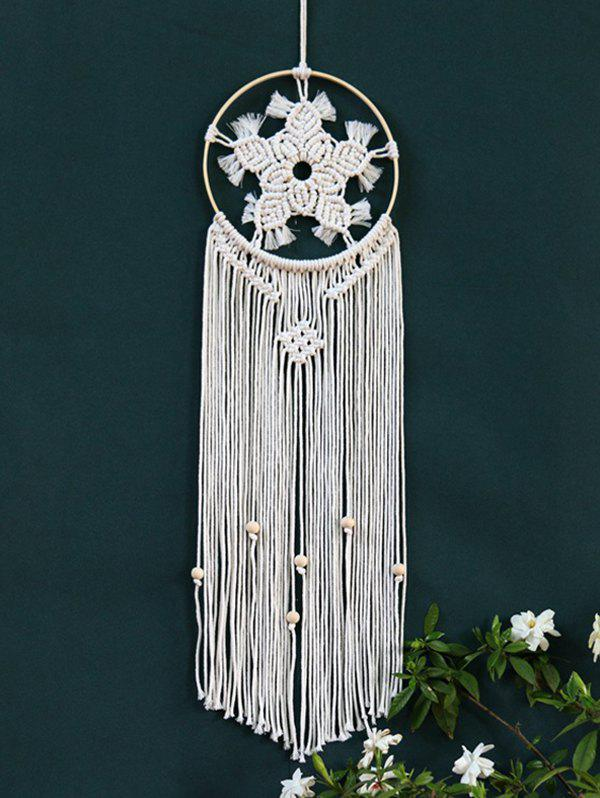 Bohemian Woven Flower Pattern Hanging Dream Catcher - WHITE
