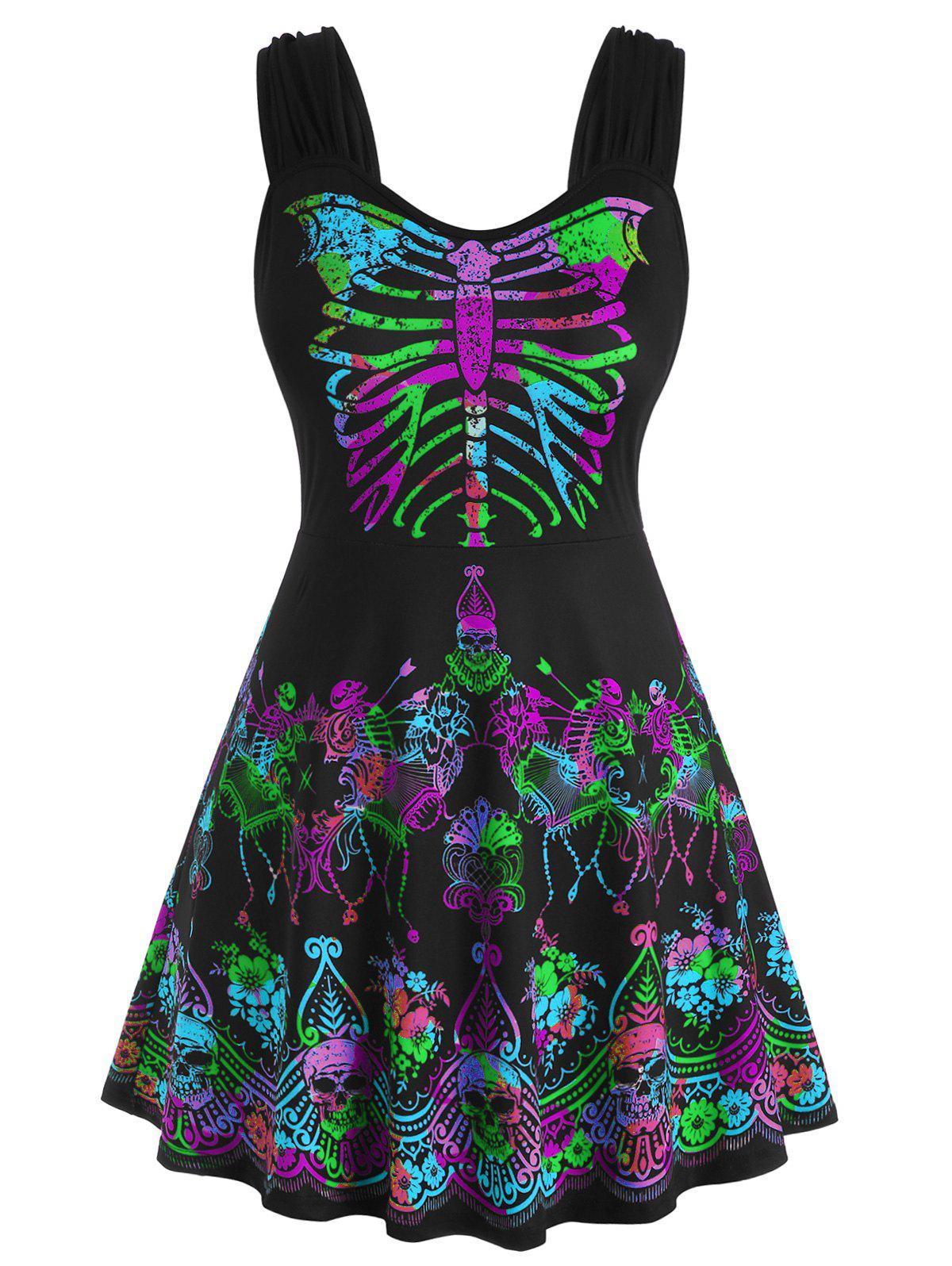 Butterfly Skeleton Skull Floral Halloween Plus Size Tank Top - GREEN 5X