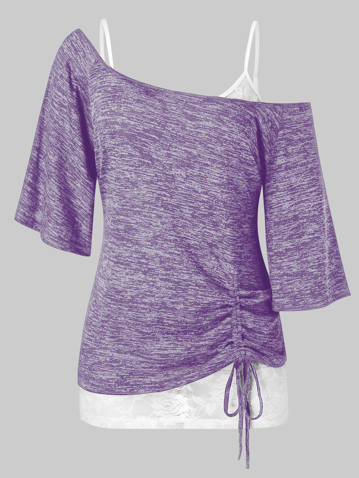 Plus Size Skew Collar Cinched Tee and Lace Cami Top Set - PURPLE AMETHYST 1X
