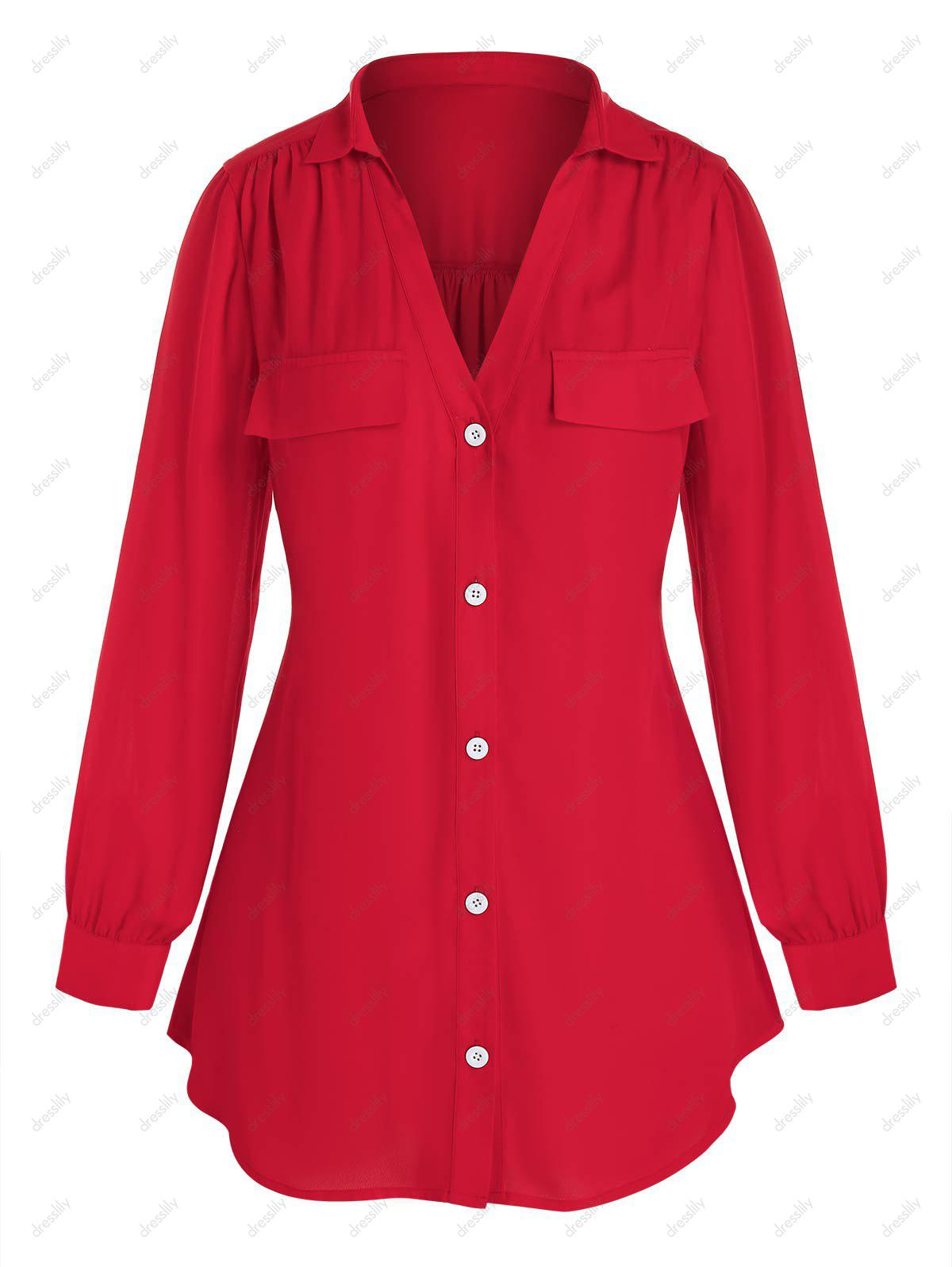Plus Size Ruched V Neck Button Front Blouse - RED 2X