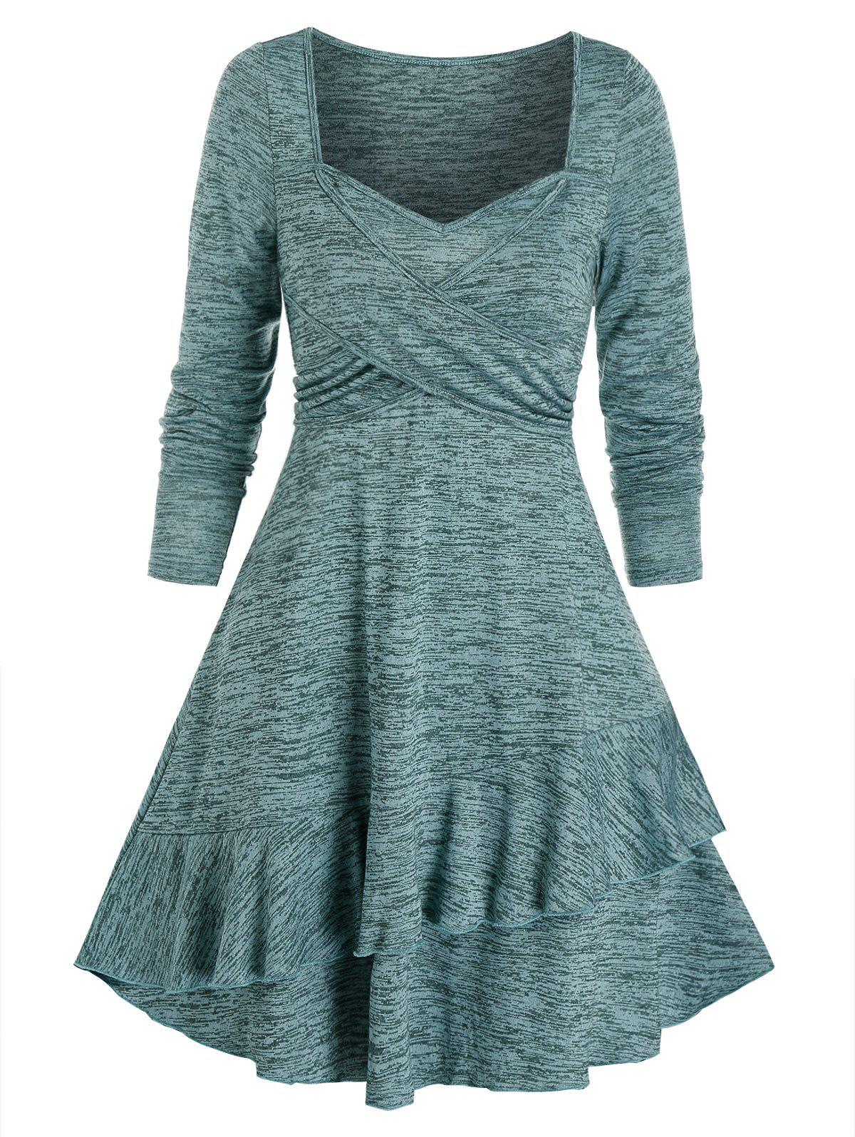 Space Dye Crisscross Knitted Layered A Line Dress - CYAN OPAQUE M