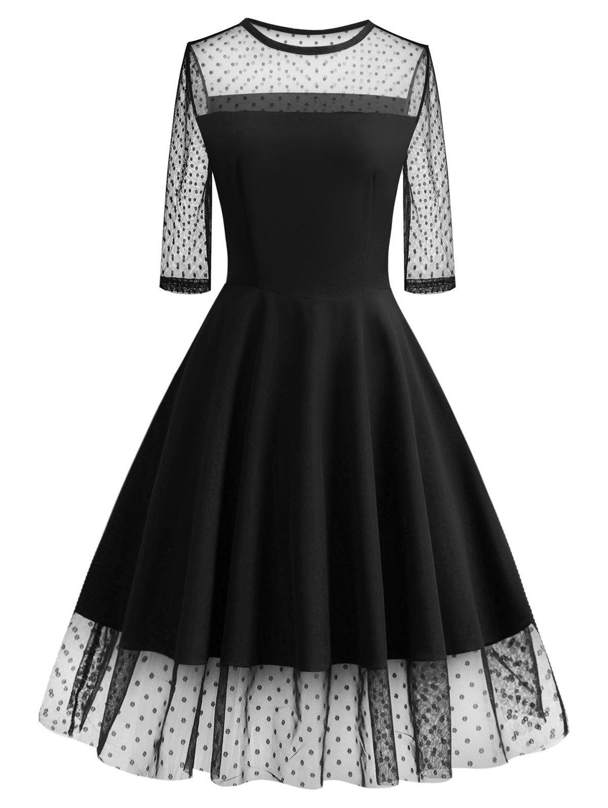 Polka Dot Mesh Insert Prom Dress - BLACK XL