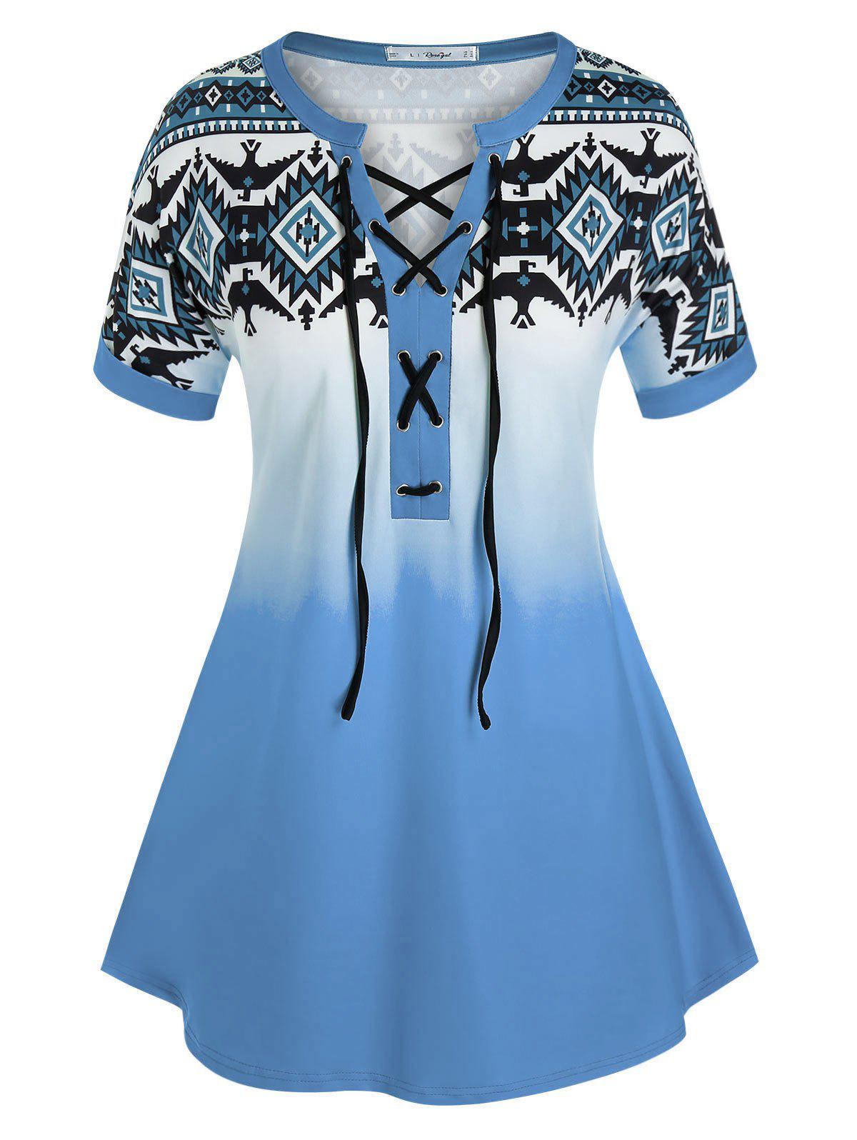 Plus Size Lace-up Geometric Print Cuffed Sleeve Tee - LIGHT BLUE L
