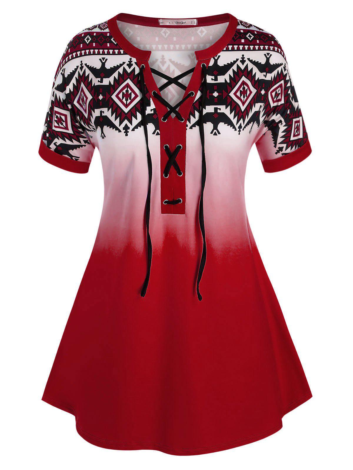 Plus Size Lace-up Geometric Print Cuffed Sleeve Tee - RED 4X