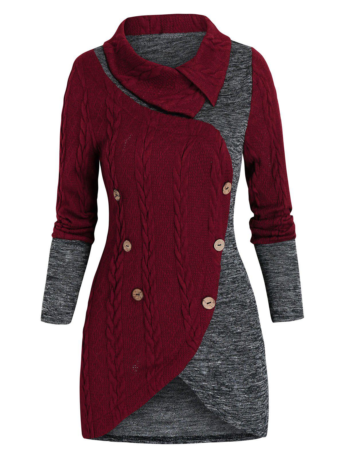 Mock Button Cable Knit Contrast Sweater - RED WINE M