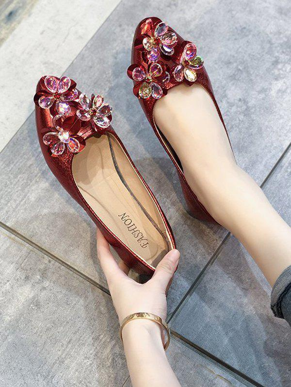 Pointed Toe Floral Flat Shoes - LAVA RED EU 39