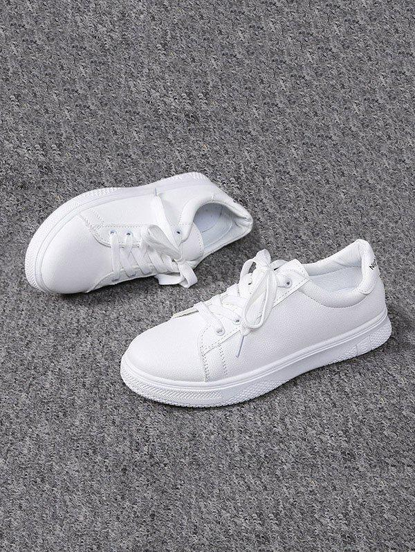 Casual Lace-up Flat Sports Shoes - WHITE EU 37