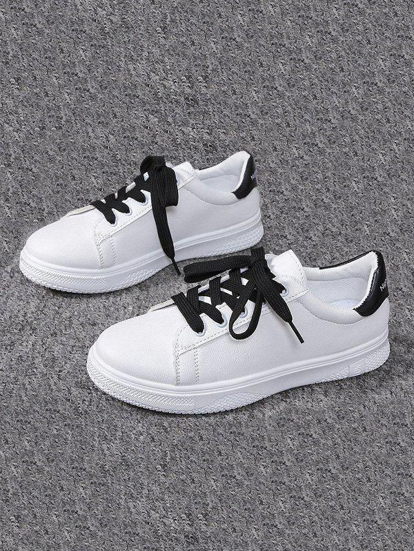 Casual Lace-up Flat Sports Shoes - BLACK EU 40