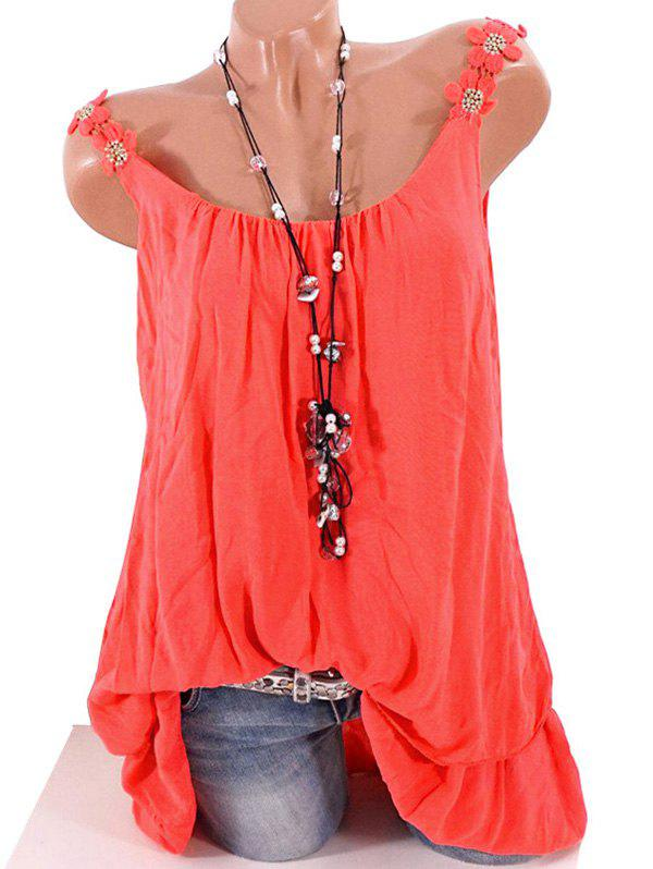 Plus Size Flower Strap Layered Flounced Tank Top - RED 5XL