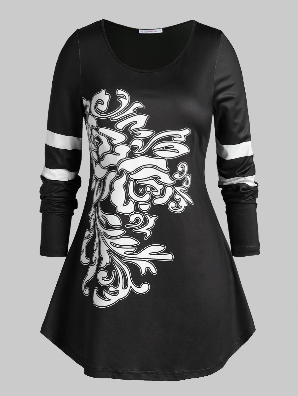 Plus Size Abstract Pattern Long Sleeve Casual Tee - BLACK 5X