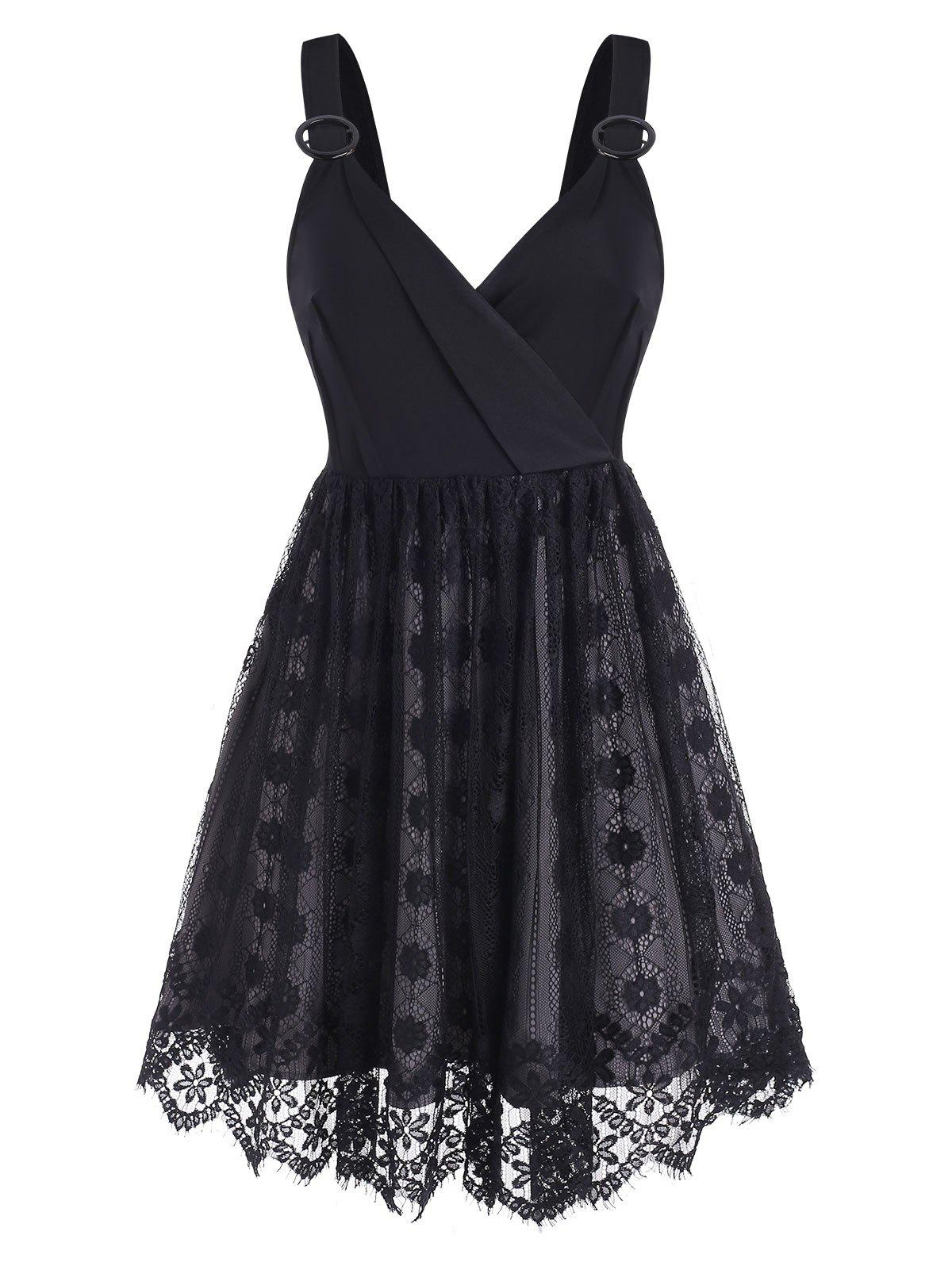O Rings Surplice Lace Dress - BLACK 2XL
