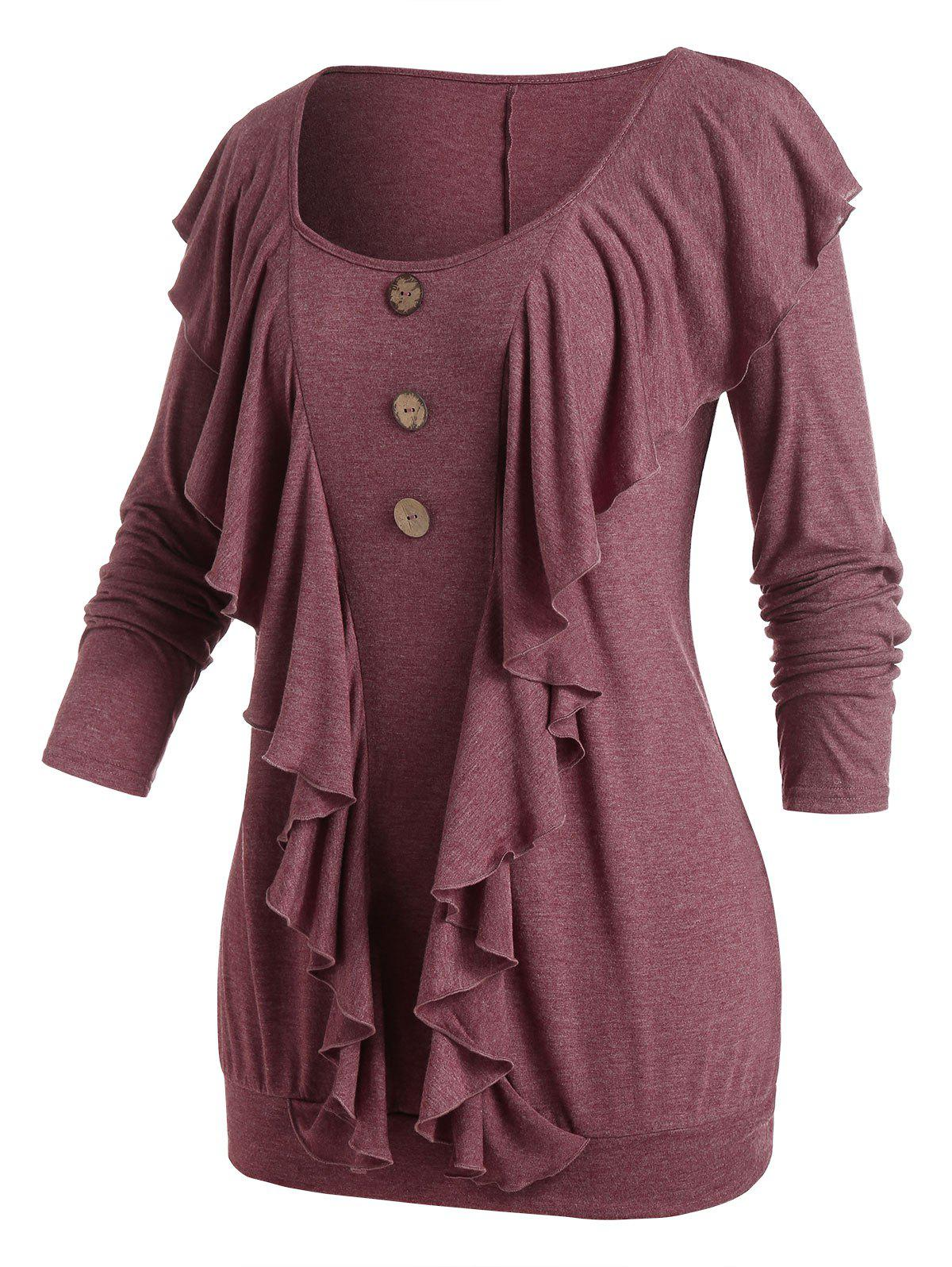 Plus Size Flounce Buttons Tunic T-shirt - RED WINE 5X