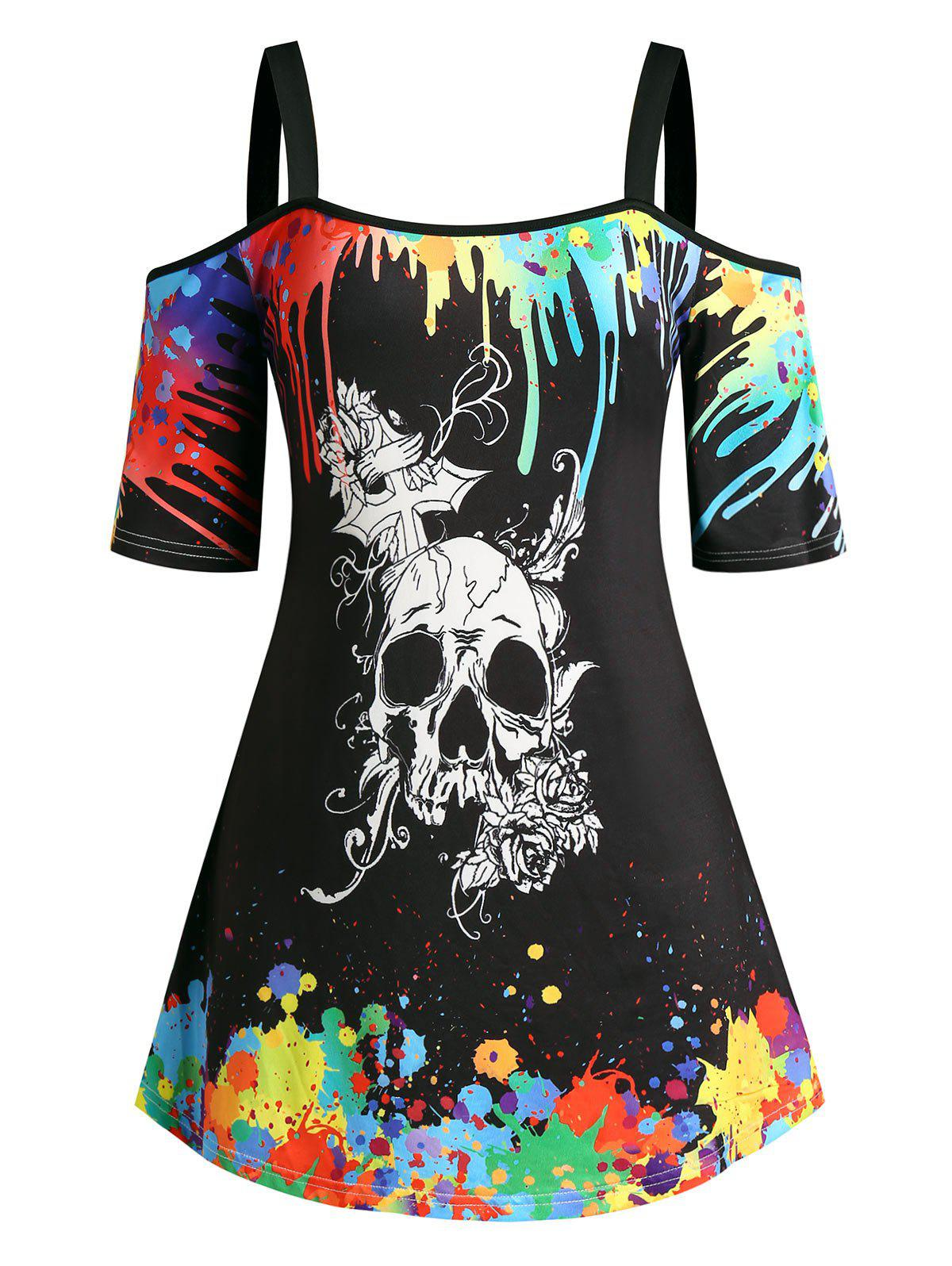 Plus Size Splatter Paint Halloween Skull Open Shoulder Tee - BLACK L