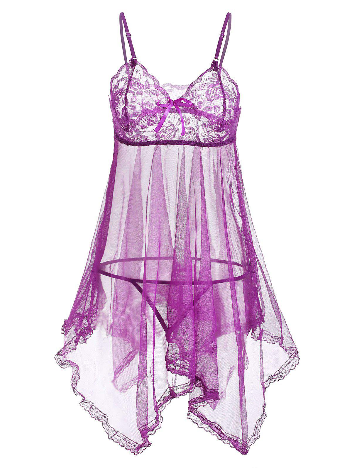 Lace Panel Handkerchief Sheer Mesh Lingerie Babydoll - PURPLE ONE SIZE