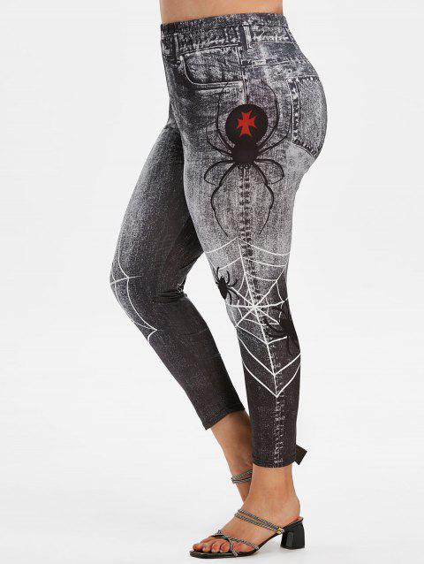 Plus Size 3D Pattern Spider Web High Rise Jeggings