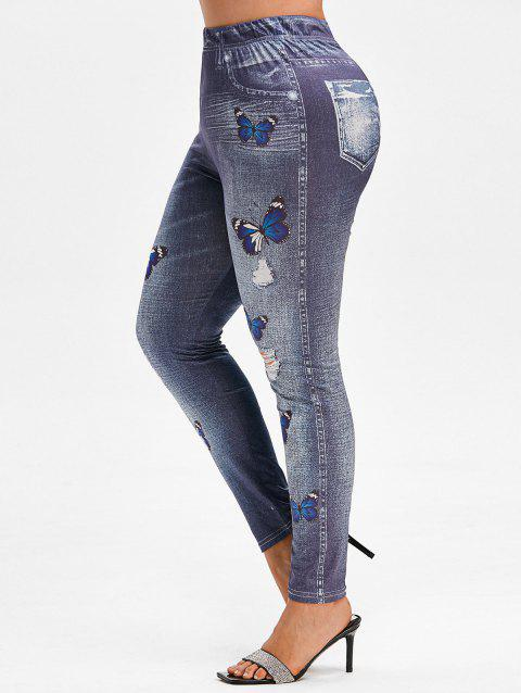 Plus Size Butterfly 3D Destroyed Jean Print Jeggings