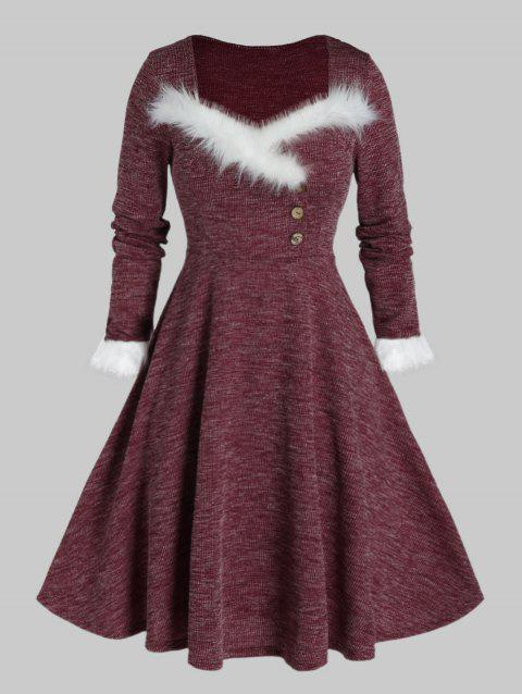 Plus Size Faux Fur Insert Buttoned Knitted Dress