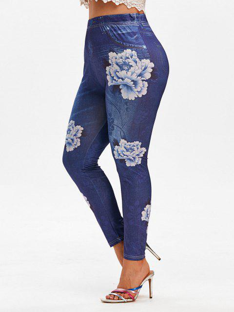 Plus Size Flower 3D Jean Pattern Stretchy High Rise Jeggings