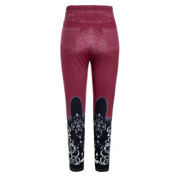 Plus Size Stretchy 3D Pattern High Rise Jeggings