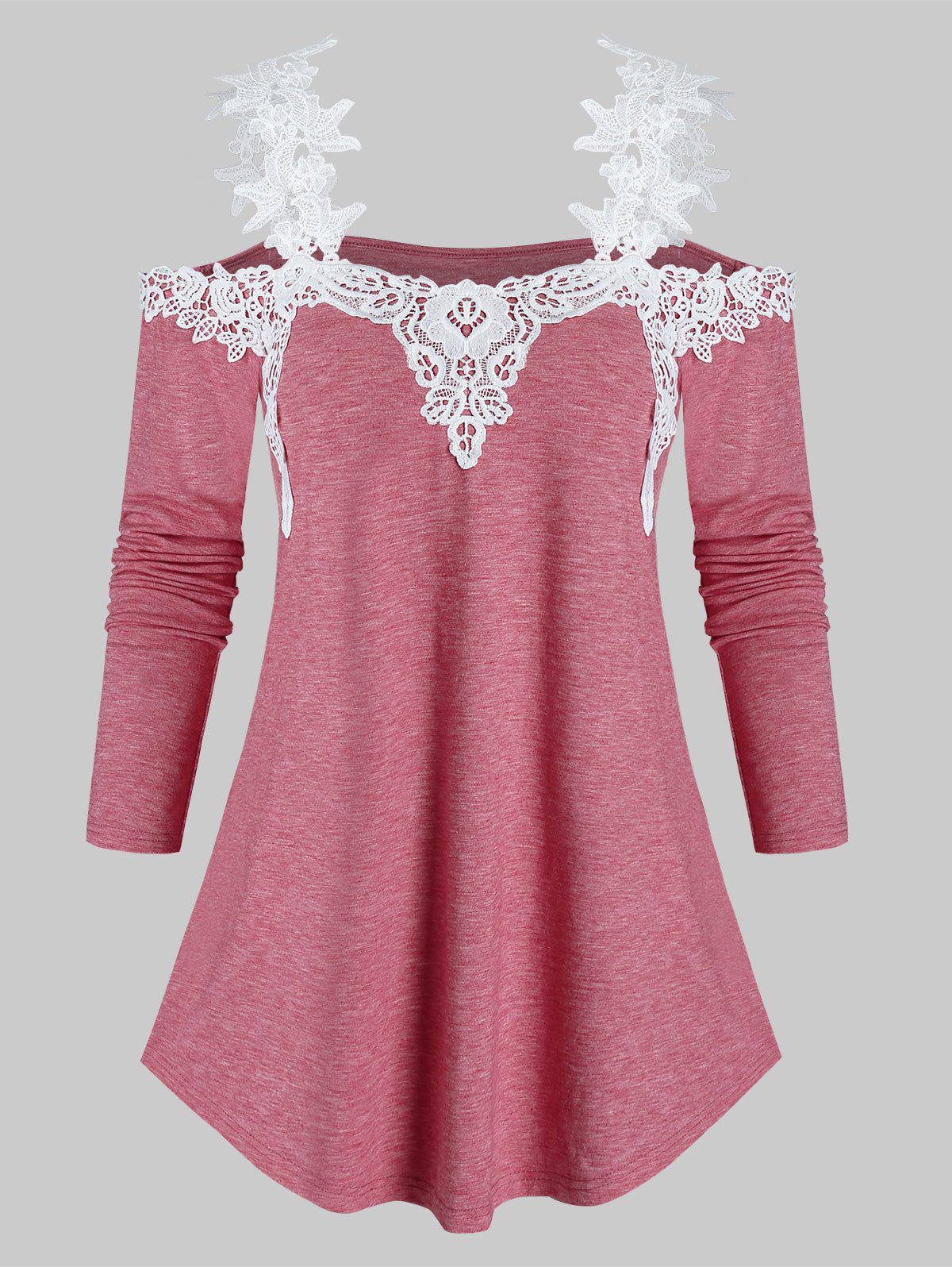 Open Shoulder Lace Insert Longline T Shirt - CHERRY RED XL