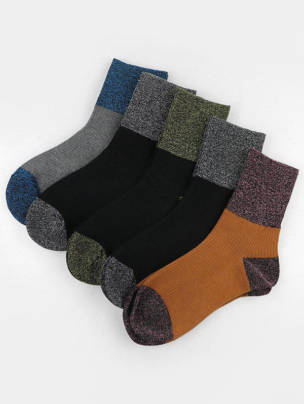 5 Pairs Shiny Patch Crew Socks Set - multicolor