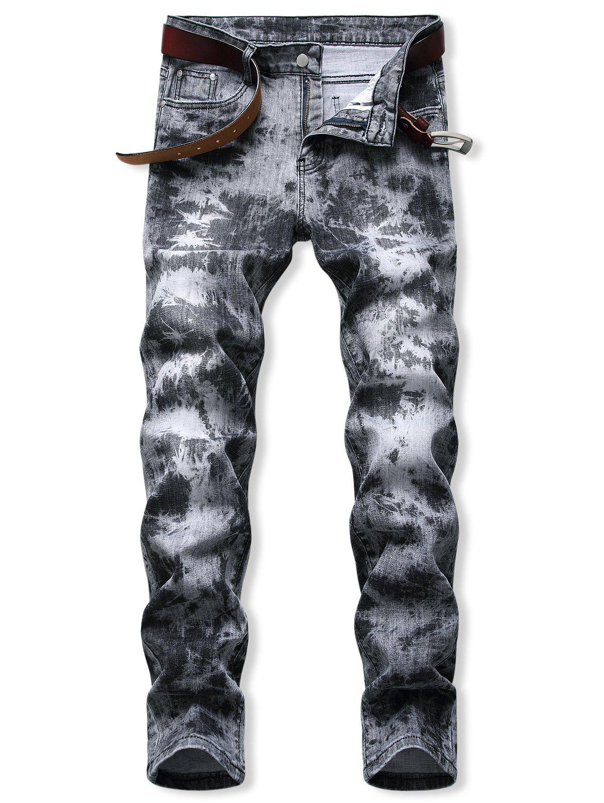 Acid Wash Zipper Fly Tapered Jeans - DARK GRAY 34