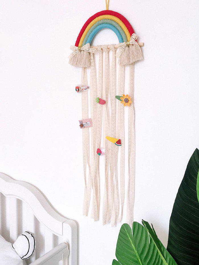 Home Decoration Rainbow Hairpin Holder Lace Wall Hanging - multicolor A