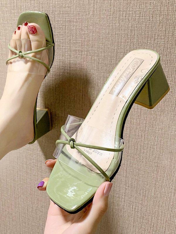 Clear Vamp Block Heel Slides - CAMOUFLAGE GREEN EU 40