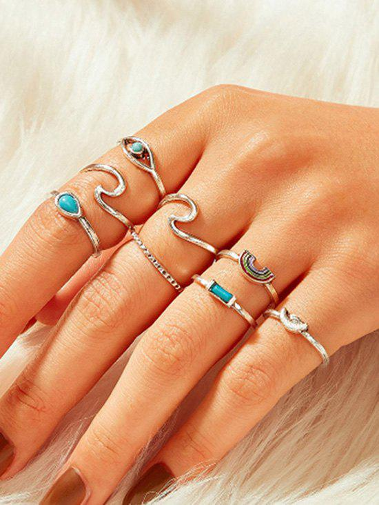 8 Piece Teardrop Eye Rainbow Finger Rings Set - SILVER