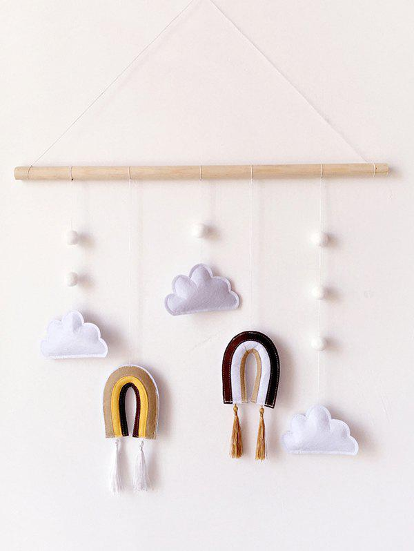 Home Decoration Clouds and Rainbow Shape Felt Wall Hanging - multicolor A