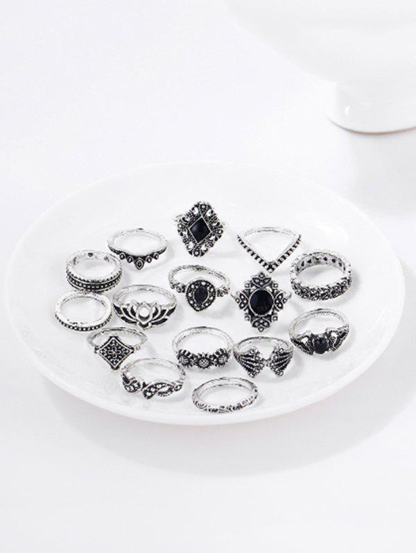 15 PCS Retro Hollow Out Flower Geometric Rings Set - SILVER
