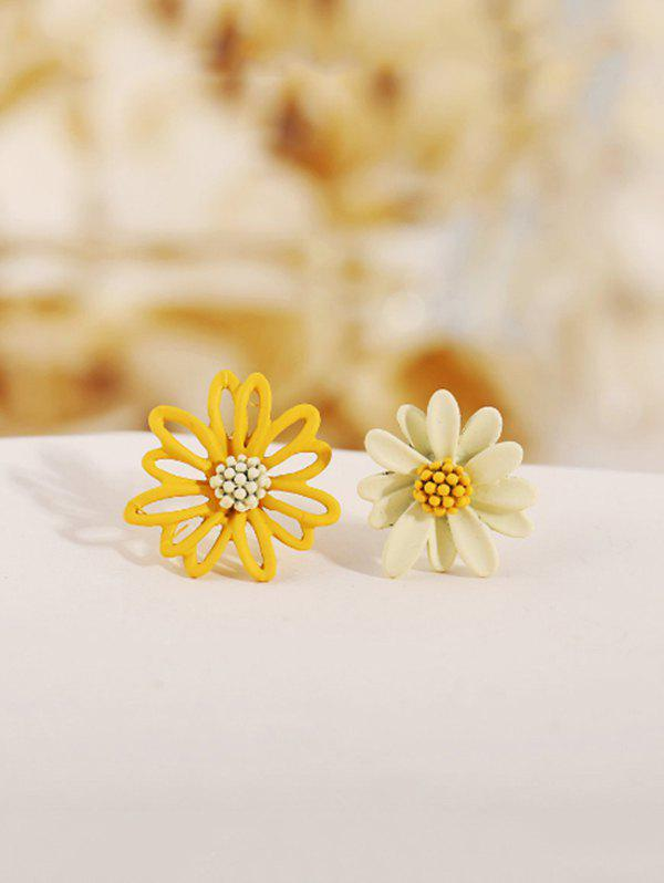 Daisy Floral Asymmetrical Stud Earrings - multicolor A