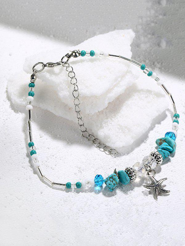 Starfish Shape Faux Turquoise Charm Anklet - multicolor A