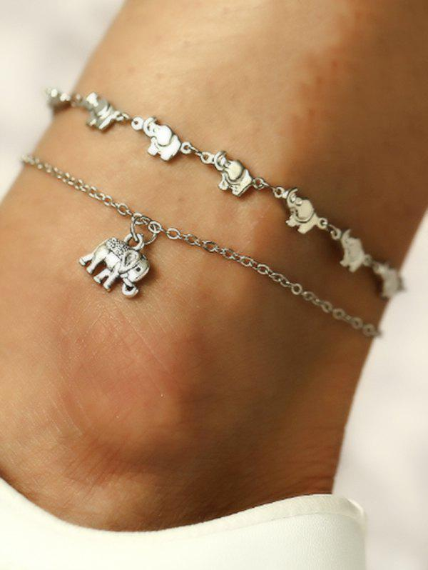 Elephant Layered Charm Anklet - SILVER