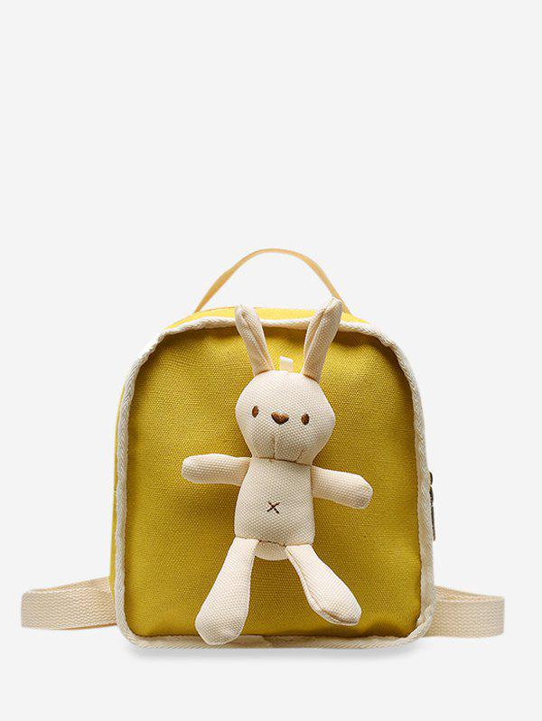 Cute Rabbit Canvas Small Backpack - YELLOW
