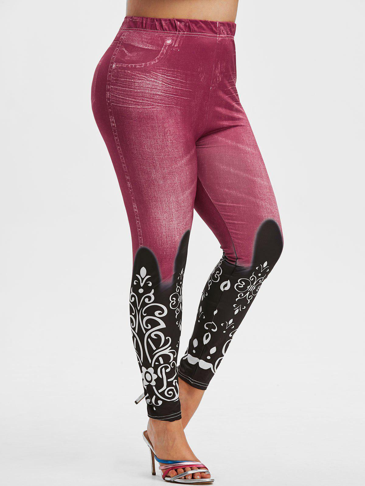 Plus Size Stretchy 3D Pattern High Rise Jeggings - LIGHT PINK 5X
