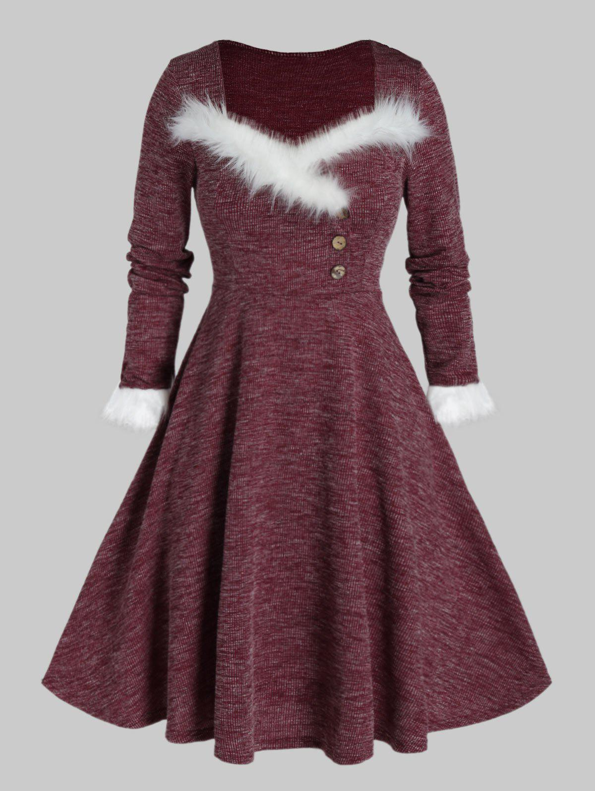 Plus Size Faux Fur Insert Buttoned Knitted Dress - RED WINE 2X