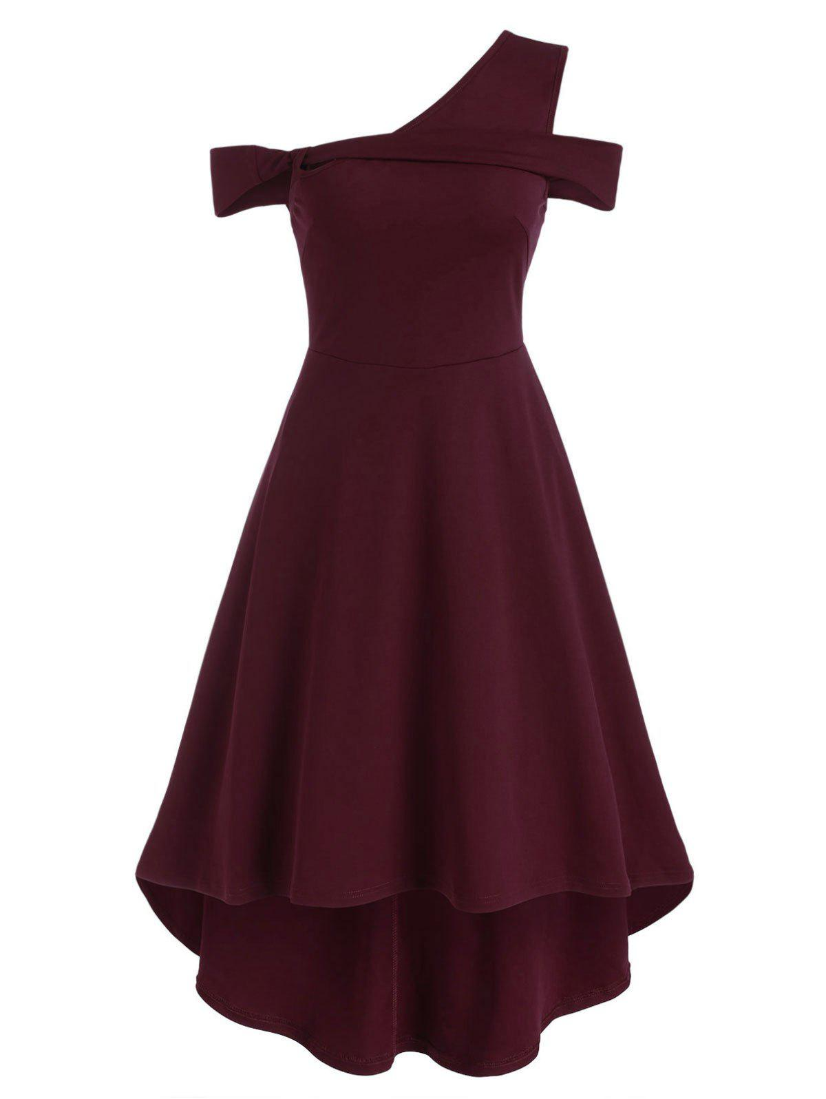 One Shoulder High Low Dress - DEEP RED 2XL