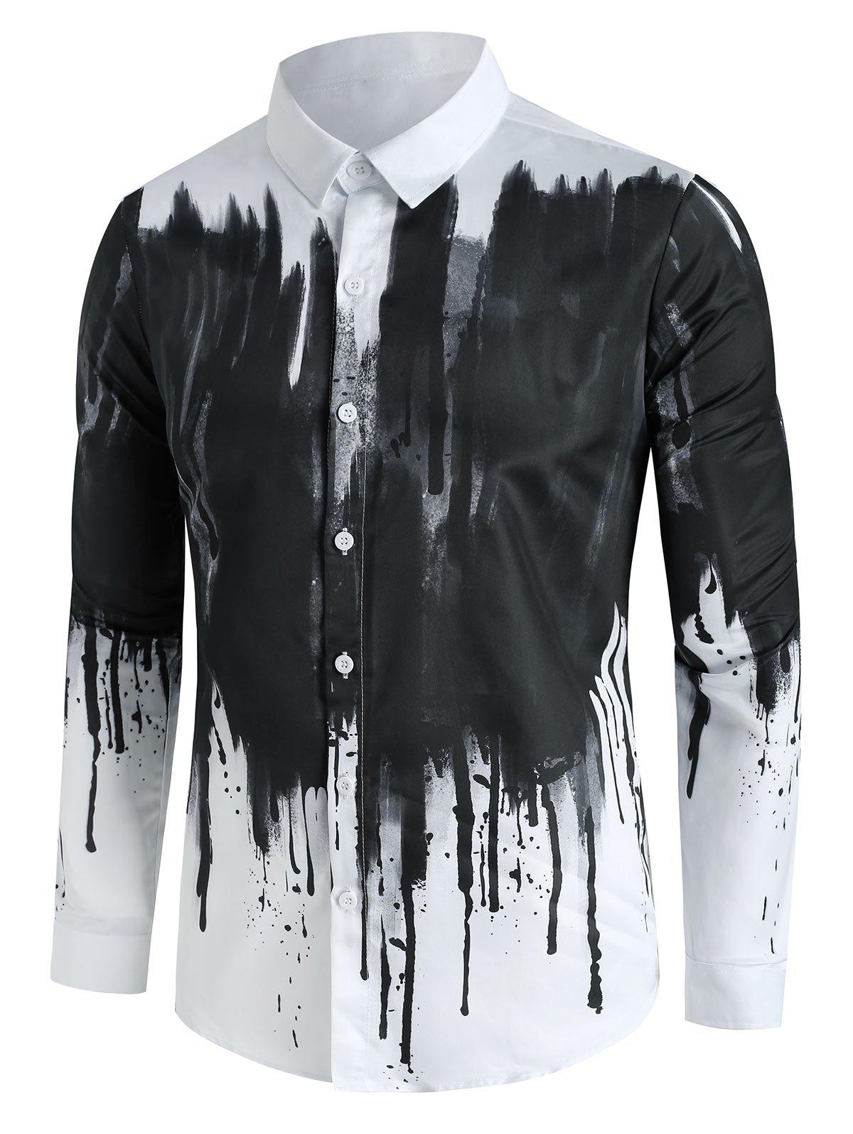 Chinese Splatter Ink Print Button Up Long Sleeve Shirt - WHITE S