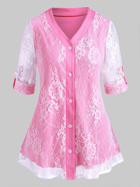 Plus Size Lace Overlay Roll Up Sleeve Blouse