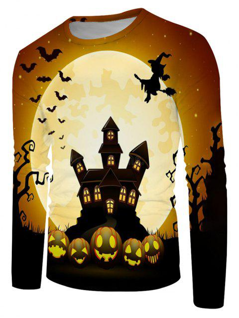 Halloween Night Bat Witches Graphic Crew Neck Long Sleeve T Shirt