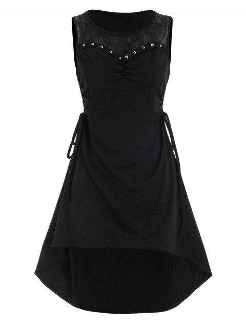Lace Panel Side Cinched Rivet High Low Dress