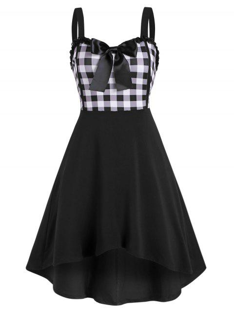 Lace Trim Bowknot Gingham High Low Dress