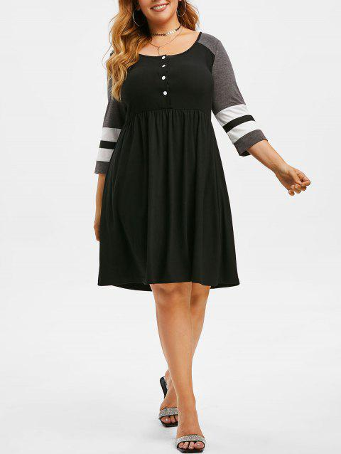Half Buttoned Stripes Panel Colorblock Plus Size Dress